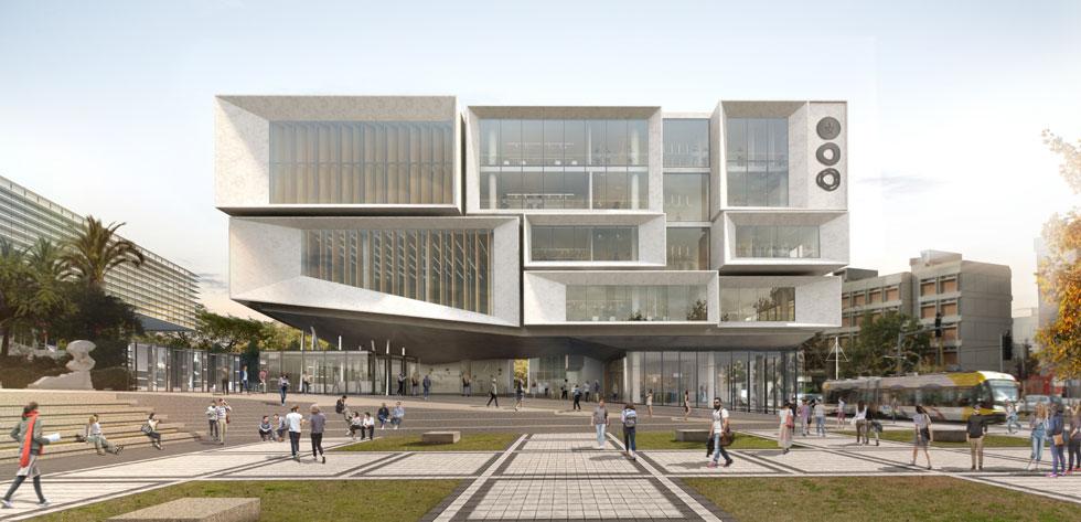 סקורקא אדריכלים הציעו מרחב ציבורי משמעותי בכניסה לקמפוס, כשהמבנה כמו-מרחף ומאפשר לעיר ולקמפוס להיפגש