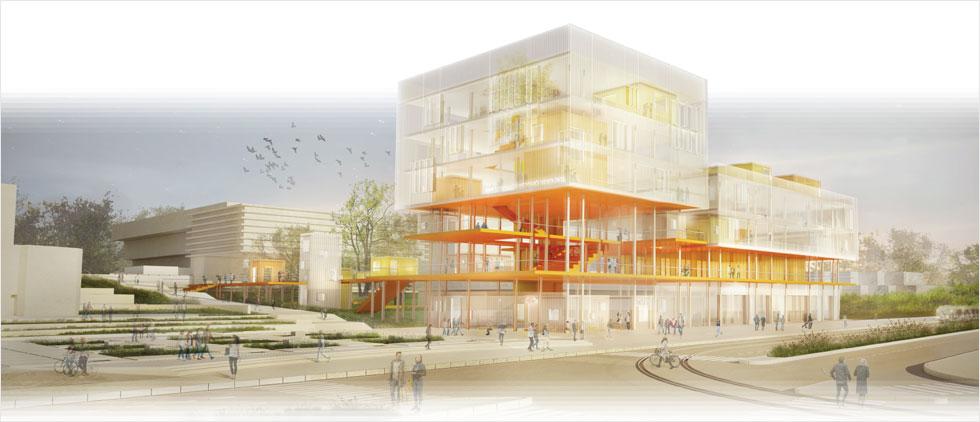 ''מבנה שהוא גבול נושם'' בהצעה של קיסלוב-קיי. ''בניין אלגנטי ופשוט, מרגישים שהוא סוער מבפנים ורואים הרבה. אייקון דינמי, מקום שלא יחזיק לסטודנטים את הידיים מאחורי הגב''