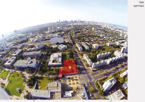 כאן יקום בית הספר לאדריכלות של אוניברסיטת ת''א: בגדה המזרחית של רחוב חיים לבנון, במפגש עם רחוב איינשטיין שיורד לים