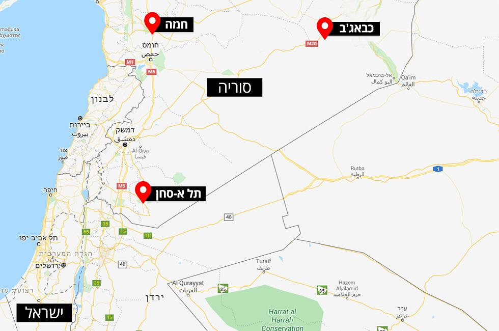 מפה תקיפה סוריה תל א-סחן כבאג'ב ליד דיר א-זור ()
