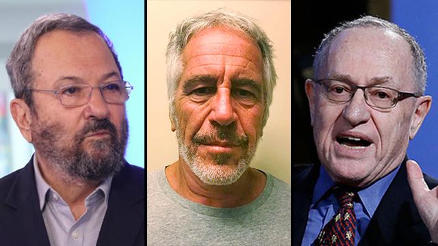 אהוד ברק, ג'פרי אפשטיין ואלן דרשוביץ (צילום: MCT, AP, אבי מועלם)