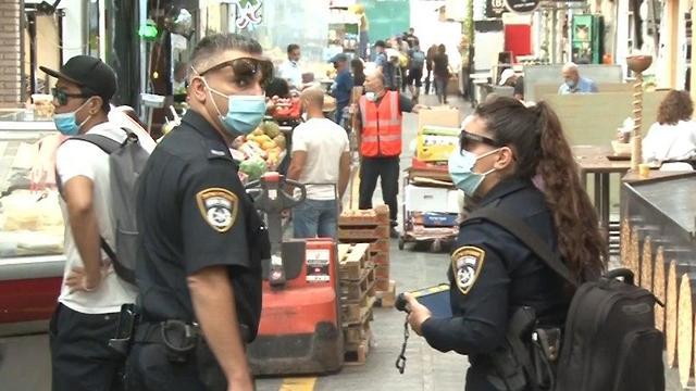 מבצע אכיפת הנחיות הקורונה של משטרת ישראל בירושלים (צילום: אלכס גמבורג )