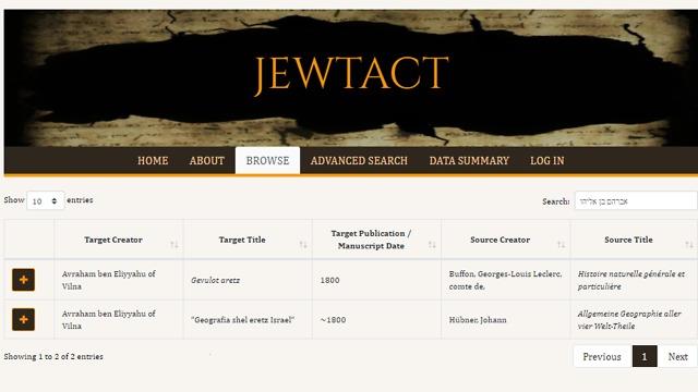 תרגומים של אברהם בן אליהו מוילנה במאגר המידע המקוון של פרוייקט JEWTACT הנמצא בהקמה (צילום: מתוך מאגר המידע המקוון של פרוייקט JEWTACT )