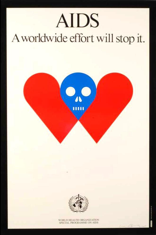 כרזה לעידוד המאבק במגפת האיידס. שוב לב, אך הפעם במשמעות אחרת (צילום: אלי פוזנר, באדיבות מוזיאון ישראל ירושלים)