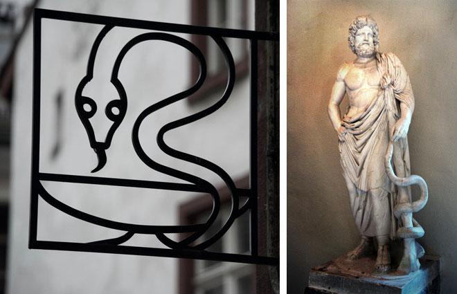הכירו את אסקלפיוס (מימין): אל הרפואה בעל מטה הנחש, בתיאטרון העתיק שבאפידאורוס, יוון. משמאל: שלט בכניסה לבית מרקחת  (צילום: Michael F. Mehnert, Pawel Biernacki, cc)