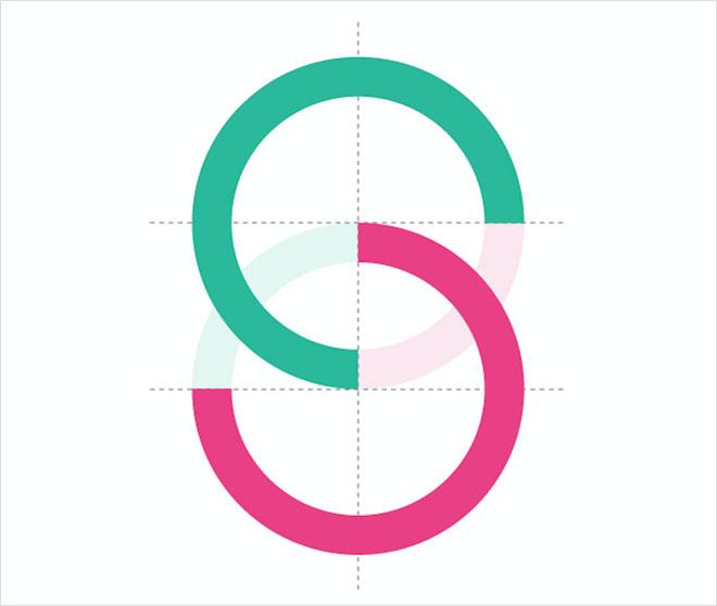 שני עיגולי הסמל. מתוך ספר המותג (צילום: שיבא תל השומר, עיר הבריאות של ישראל)