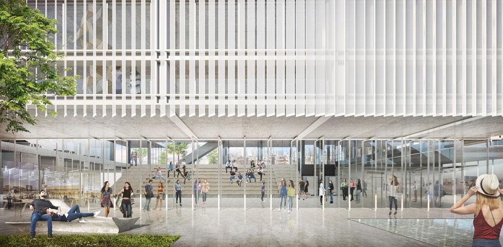 מעטפת רפפות אנכיות מאלומיניום מחורר תעטוף את המבנה. הכללים הישנים נשמרים: הכניסה של הציבור היא רק לחזית המסחרית, ואי-אפשר לעקוף את הש''ג בכניסה (ציונוב-ויתקון אדריכלים)