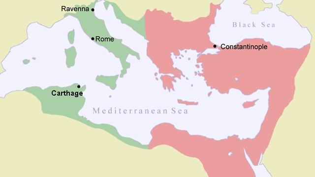 מפת האימפריה הביזאנטית (צילום: מתוך ויקיפדיה)