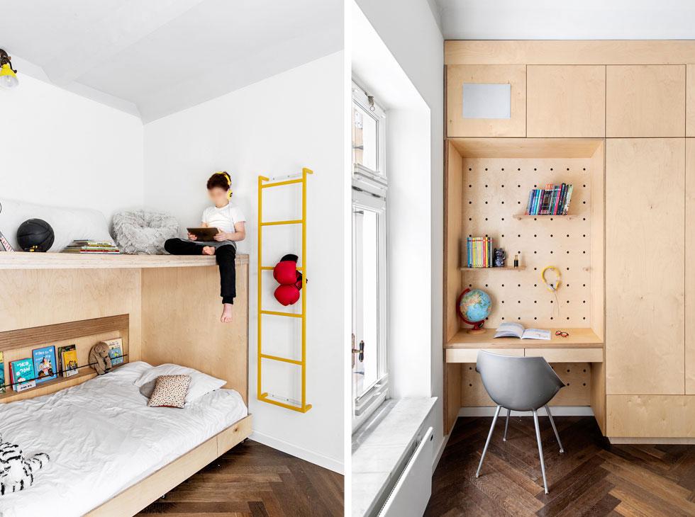 בחדרי הילדים רהיטי עץ - ארונות, מיטות ופינות כתיבה - שתוכננו עבורם במיוחד (צילום: איתי בנית)