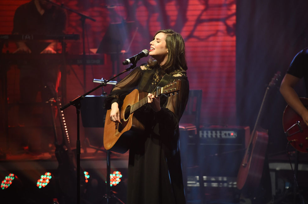 """בטקס חלוקת פרסי אקו""""ם לפני שלוש שנים, שבו היא זכתה בפרס על אלבומה """"2023"""". """"לפעמים אני חושבת לעבור לפוליטיקה"""" (צילום: יאיר שגיא)"""