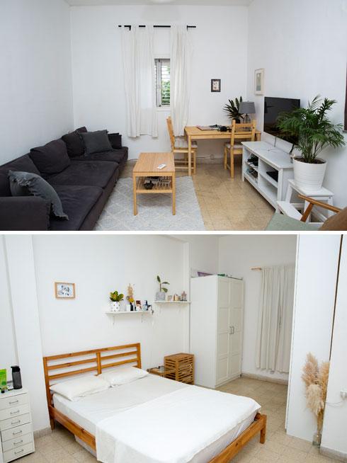 סגנון מינימליסטי בסלון (למעלה) ובחדר השינה של גדרון (צילום: ענבל מרמרי)
