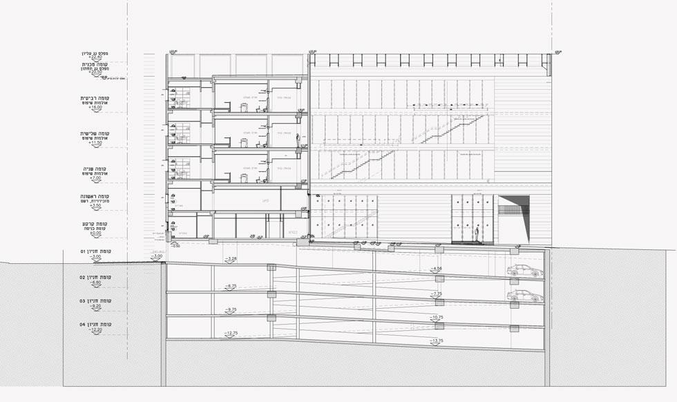 5 קומות מעל 4 קומות תת-קרקעיות (חתך: אדריכל אמנון רכטר-רכטר אדריכלים)