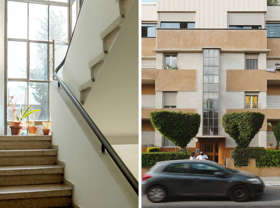 הבניין שתכנן האדריכל הנודע יוסף ברלין משופץ ומטופח להפליא, וחדר המדרגות מכניס אור יום נעים פנימה (צילום: גדעון לוין)