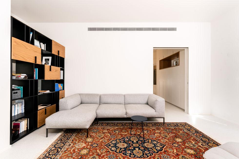 הפגישות עם האדריכלית היו קצרות ותכליתיות, ואריאלי ביקש ''מינימליסטי ומדויק''. שתי ספות וכורסה בסלון, ותמונה שנשענת על הקיר (צילום: תמיר רוגובסקי)
