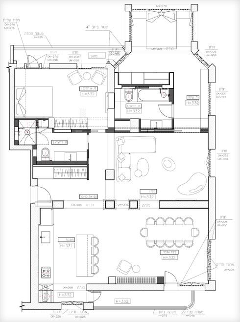 תוכנית הדירה של דן אריאלי, בעיצוב האדריכלית רבקה כרמי (תוכנית: רבקה כרמי אדריכלים בהשתתפות נטע גסקו)