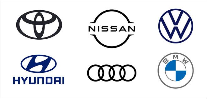מגמת ההשטחה הגרפית בסמלים העדכניים של פולקסווגן, ניסאן, טויוטה, BMW, אאודי ויונדאי