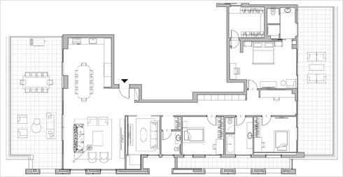 תוכנית הדירה. שני אגפים, שתי מרפסות גדולות (תוכנית: אדריכל דני רוזן)