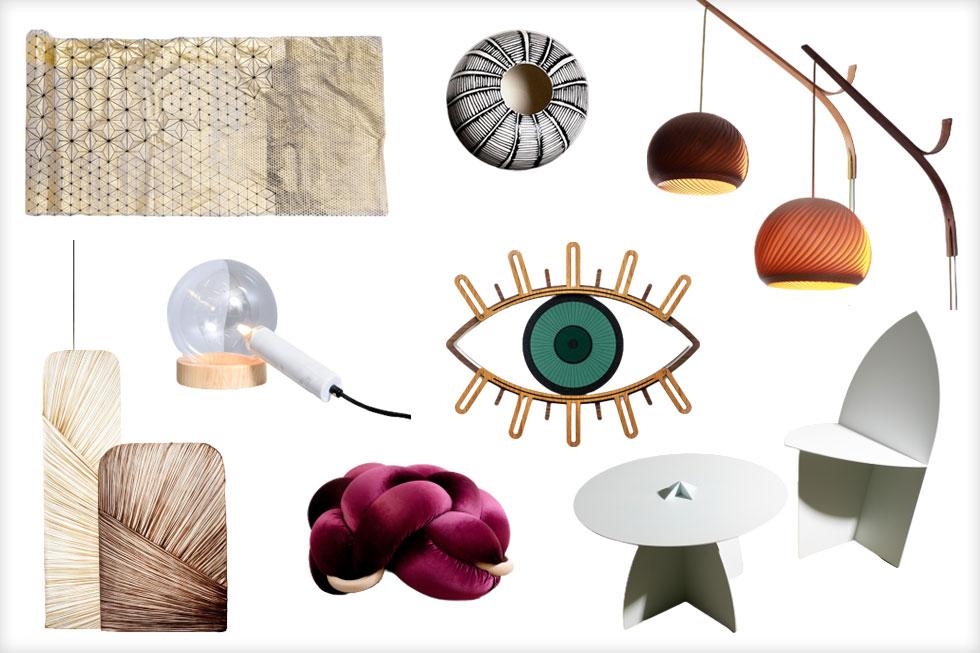 מימין למעלה: מנורות העץ של ''סטודיו ויהי'', אגרטל קרמיקה של מעין בן יונה, ראנר תלת ממדי של מיקה בר, מנורת שולחן של אסף וינברום, מנורות מבד משי של אלבי צרפתי, כרית קשר של סטודיו Knots, שולחן וכיסא ברזל של Tommmy Design, ובמרכז פקוחה עין של Umasqu (צילומים: עמית צרפתי, אילן בשור, נמרוד גנישר, איה ווינד, אלבי צרפתי, מיכאל טופיול)