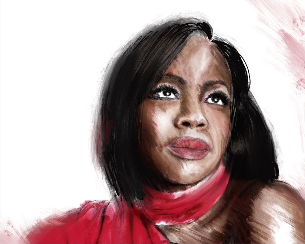 דעתנית, לוחמנית, כריזמטית ונותנת קול לאתגרים שיש לבעלות התיוג הכפול של אישה ושחורה בארצות הברית של ימינו. המחווה שלי לוויולה דיוויס (איור: ארז עמירן)