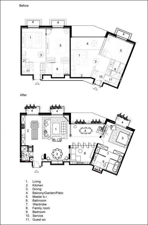 למעלה: לפני. שתי דירות קטנות. למטה: אחרי האיחוד (תוכנית: בינדרמן אדריכלים)