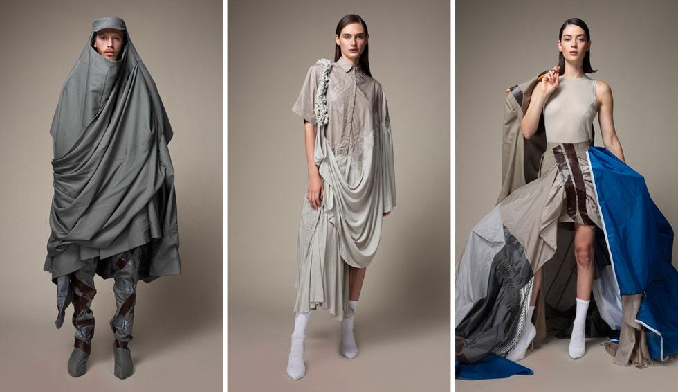 """שנקר: מערכות הלבוש של רבקה מירזקאנדוב עוצבו עבור הנווד המודרני. הפרויקט היפה """"יוצאים פנימה"""" בצבעוניות של כחול, אפור ואבן, מתרגם את הכמיהה של בני האדם להגיע למאדים, אך עושה זאת בשפה מודרנית ועכשווית, ולא כפנטזיה פוטוריסטית כפי שעשו מעצבים כמו פייר קרדן בשנות ה-60  (צילום: עדו לביא)"""