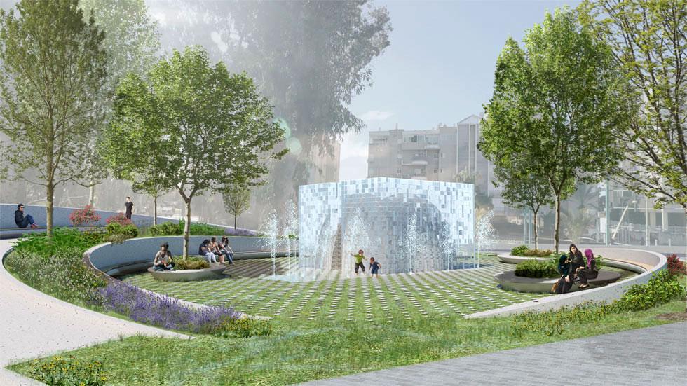 הדמיה של ההצעה הזוכה. במקום הצומת הסואן של היום - מרחב ציבורי שמזמין שהייה ומשחק (הדמיה: FONMA ONIVA)