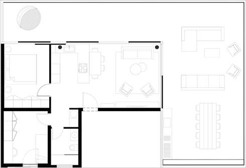 תוכנית דירת הגג (תוכנית: עיני שובל אדריכלים)