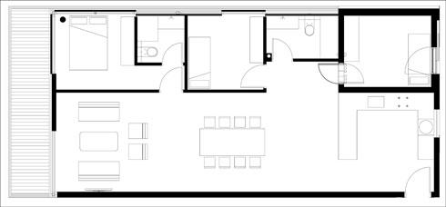 תוכנית הדירה לפני שינויים (תוכנית: עיני שובל אדריכלים)