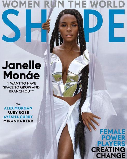 החולצה הפכה לחצאית. ג'אנל מונה על שער מגזין שייפ (צילום: Dana Scruggs)