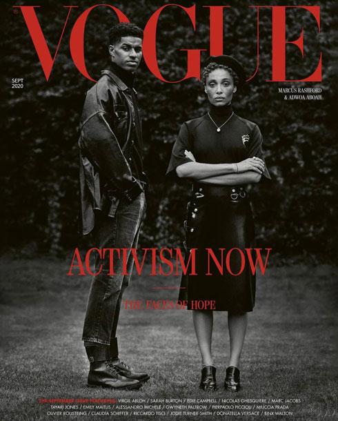 """גיליון ספטמבר 2020 של ווג בריטניה בעריכתו של אנינפול, עם הכותרת """"אקטיביזם עכשיו"""" (צילום: Misan Harriman)"""