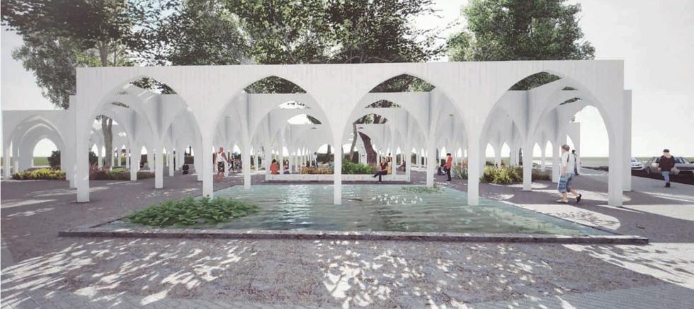 ההצעה שהעפילה לגמר וזכתה במקום השלישי, של האדריכלים שני מלא-רון, מאיה דן, עמירם מיארה וגלעד ארליכמן (הדמיה: שני, מאיה ועמירם)