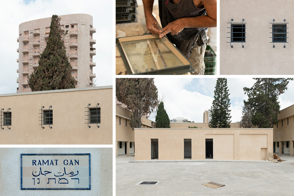 פרטים שונים במצודה שעוברים שימור, החל מהשלט ''רמת גן'' בשלוש השפות הרשמיות של המנדט וכלה בסורגי תאי המעצר (צילום: גדעון לוין)