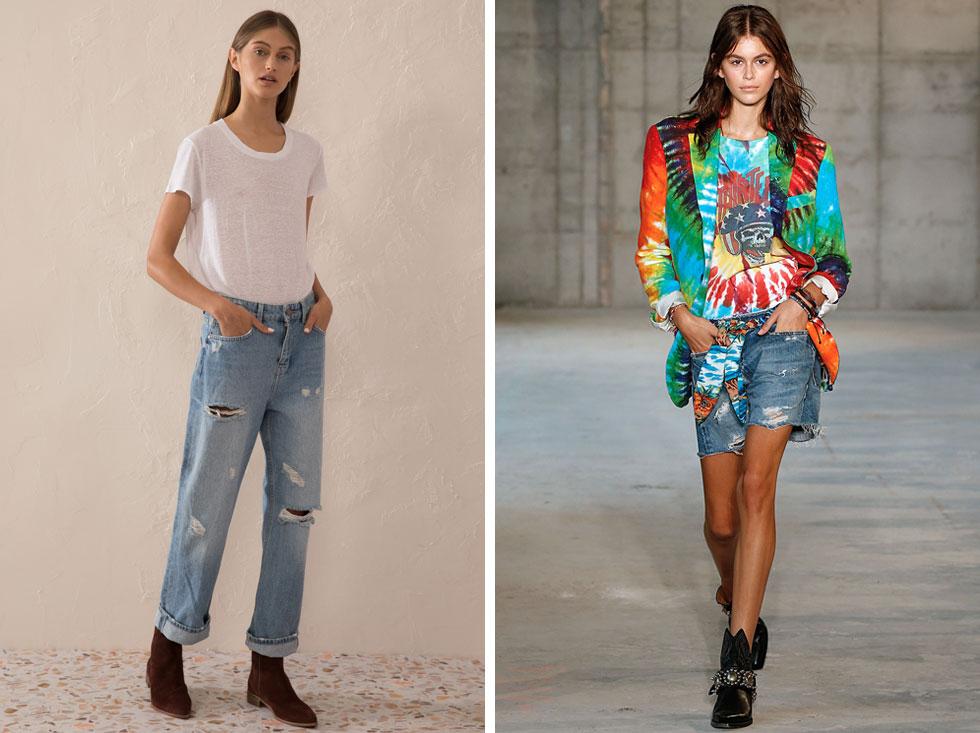 ארוכים עם קרעים או קצרים בקישוט בד צבעוני? מכנסיים של R13 (מימין) וסאקס (צילום: שי יחזקאל)
