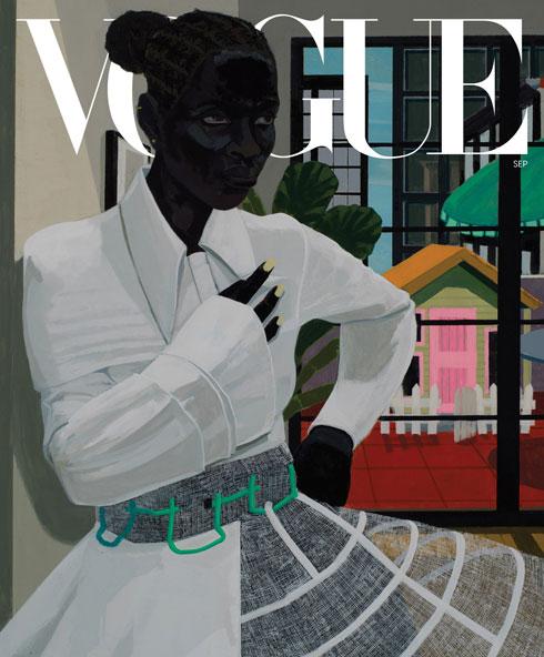 דמות בשמלה לבנה של המותג אוף ווייט בשער השני של ווג ארצות הברית (איור: Kerry James Marshall)