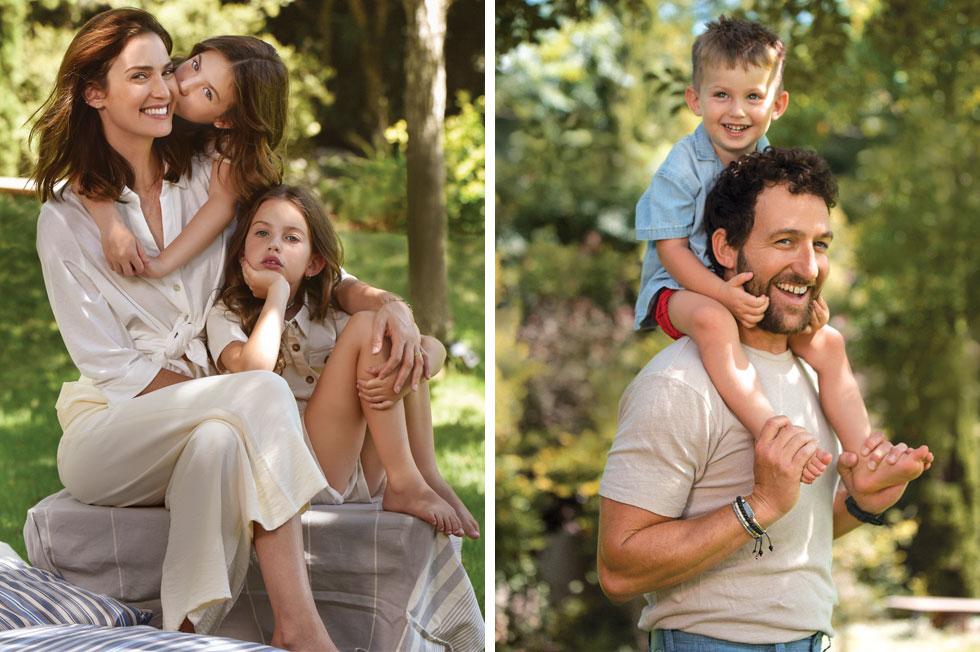 """משפחת גולדמן-פפר. אורי עם הבן איתן, יעל עם הבנות תהילה ועמנואל. """"עוד ילד בטוח לא יהיה"""" (צילום: מאיר כהן, סגנון: מיטל ברונר)"""