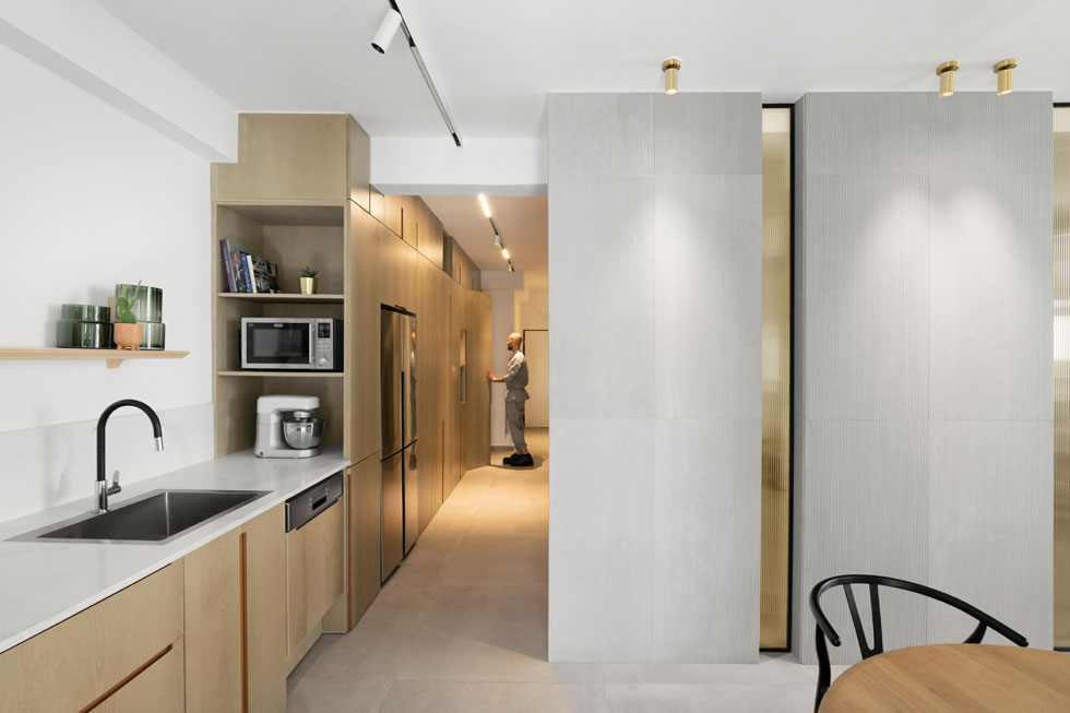 מול חדר השינה הוא משמש כארון בגדים, מול חדר הרחצה כארון כביסה ושירות, ובסופו הוא הופך למטבח (צילום: גדעון לוין)