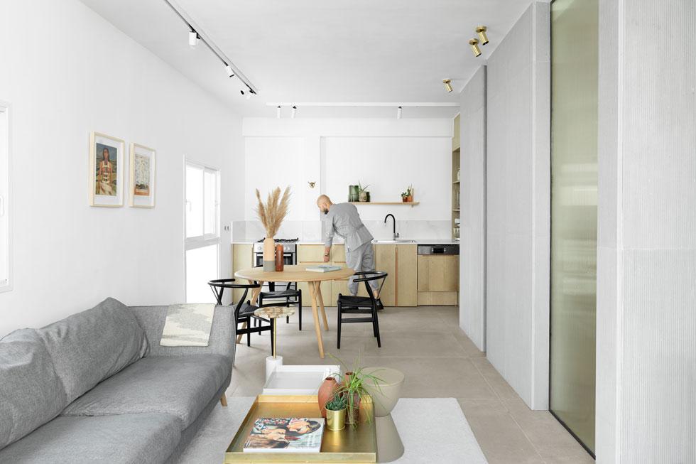 בקטע המקביל לסלון הופך ארון הקיר למטבח נקי קווים ואוורירי (צילום: גדעון לוין)