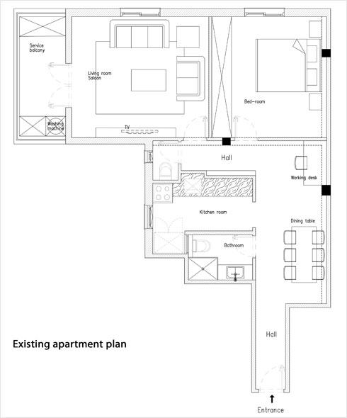 תוכנית הדירה לפני השיפוץ. חדרים נפרדים, עם מטבח בכניסה וחדר רחצה ללא חלון (תוכנית: K.O.T אדריכלים)