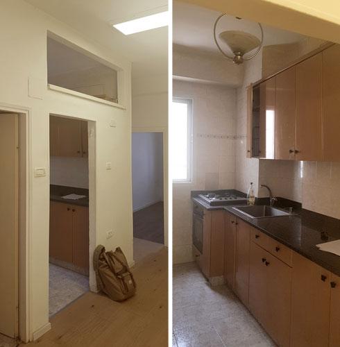 לפני השיפוץ. חדרים קטנים ונפרדים (צילום: K.O.T אדריכלים)