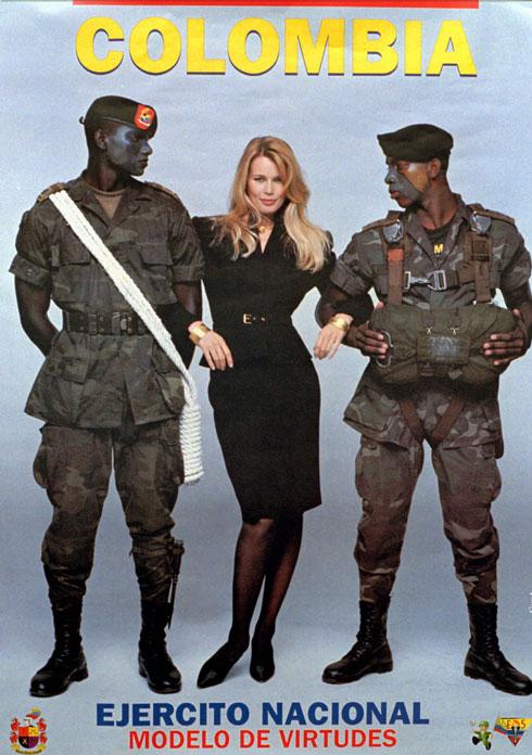 הביקור בקולומביה הפך לפרסומת לצבא. 1996 (צילום: AP)