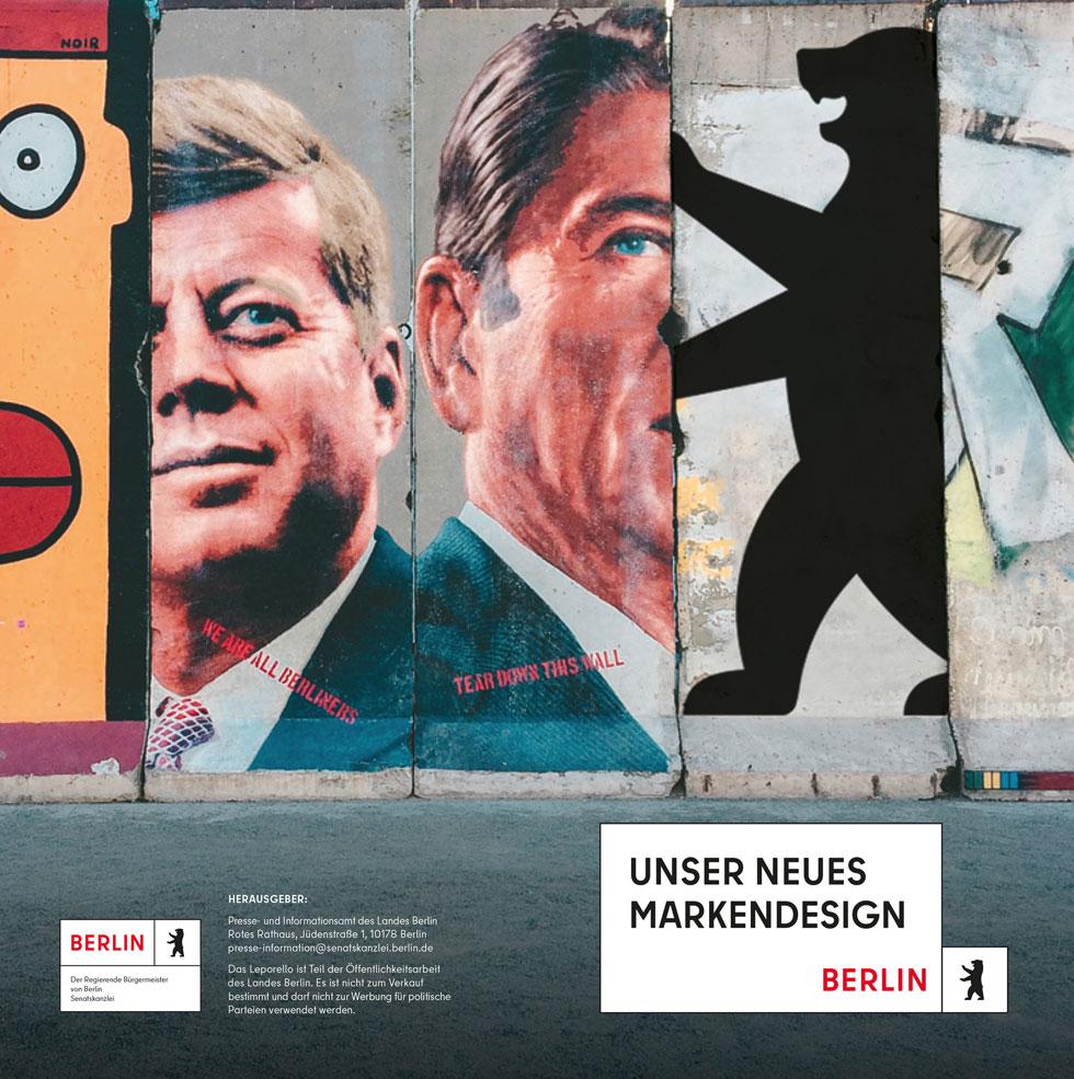 המחשה של השפה הגרפית החדשה של ברלין, כולל הטיה לגוף רבים של המימרה המפורסמת של ג'ון קנדי - Ich bin ein Berliner (אני ברלינאי)' (עיצוב: JUNGvMATT)