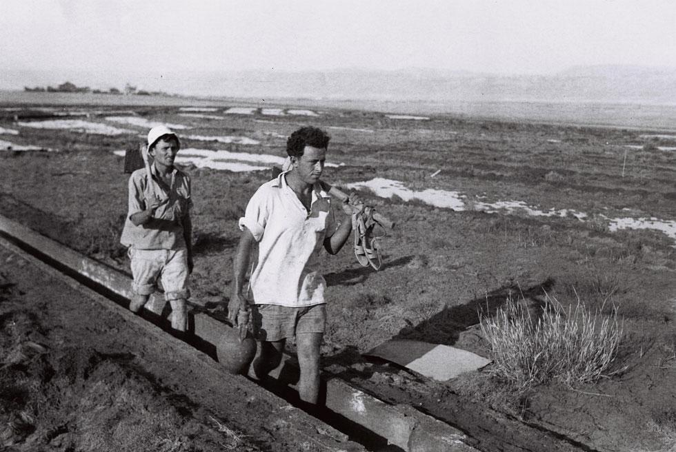 """חקלאות מדברית בבית הערבה, 1944, ארבע שנים לפני הפינוי, במלחמת העצמאות. מאז ועד שנת 2000 היה המקום נטוש (צילום: קלוגר זולטן, לע""""מ)"""