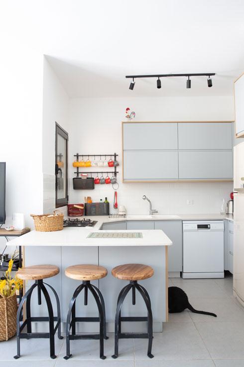 מטבח באחת הדירות, אחרי שדרוג הסטנדרט שהציע הקבלן (עם ארונות נמוכים בלבד) (צילום: דור נבו)
