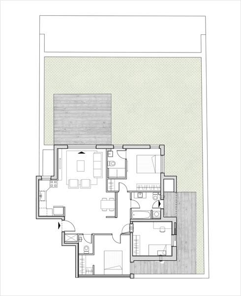 דירת גן (תוכנית: מילבאואר אדריכלים)