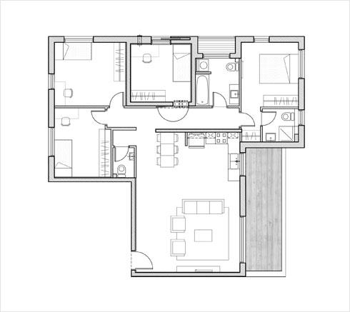 תוכנית דירה גדולה יותר (תוכנית: מילבאואר אדריכלים)
