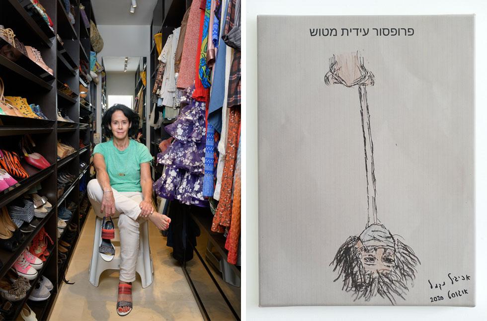 מימין: ציור ששלחה לה ילדה בת 9 בימי הסגר הקודם. משמאל: הממ''ד, עם אוסף נעליים ושמלות שלא היה מבייש אף פשניסטה (צילום: יונתן בלום)
