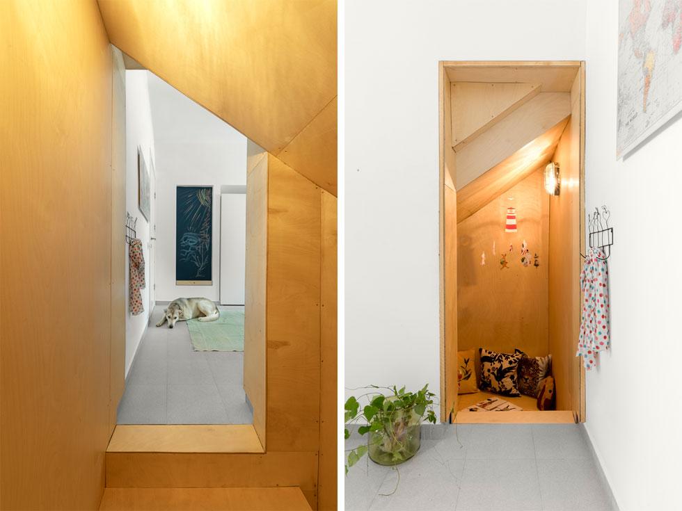 בחדר יש גומחה שיצר גרם המדרגות העולה לדירתם של השכנים מלמעלה. שרון ציפה את הגומחה בלוחות עץ, והפך אותה למקום מחבוא ומשחק (צילום: טל ניסים)