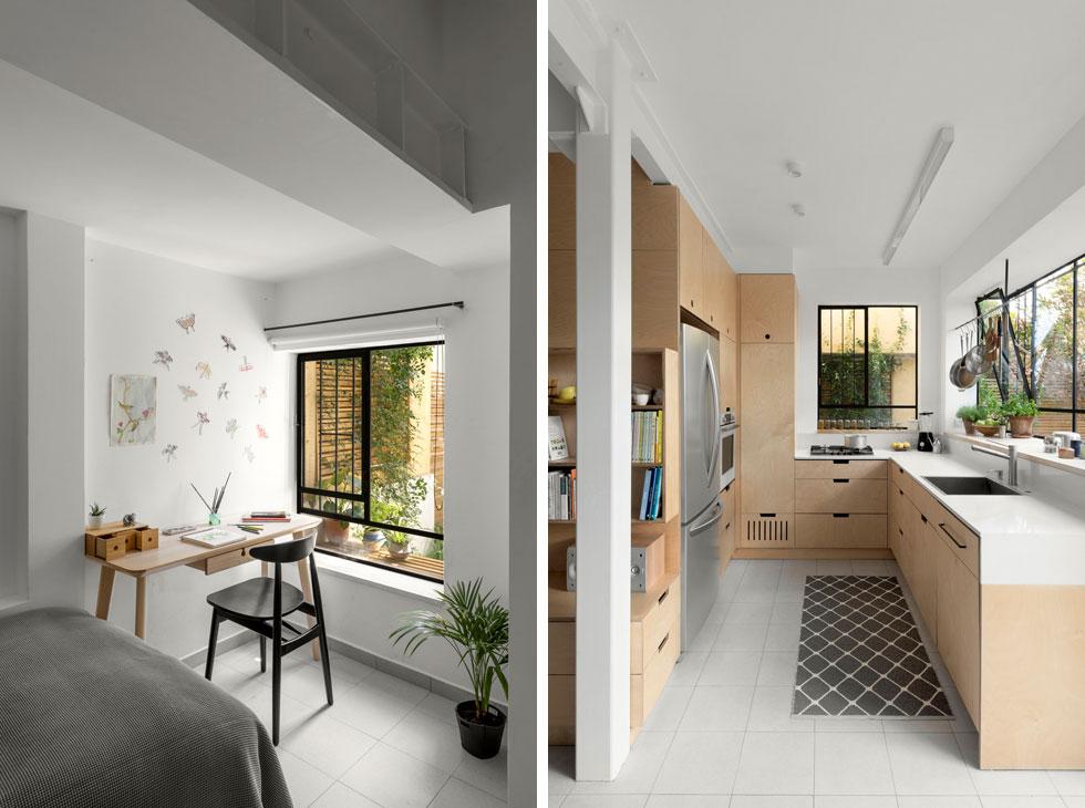 מה עושים כשאין חדר לבת הבכורה? הופכים את המבואה (מימין) למטבח קטן, ואת המטבח לחדר לילדה. תכנון: עמיחי שרון. לחצו לכתבה המלאה (צילום: טל ניסים)