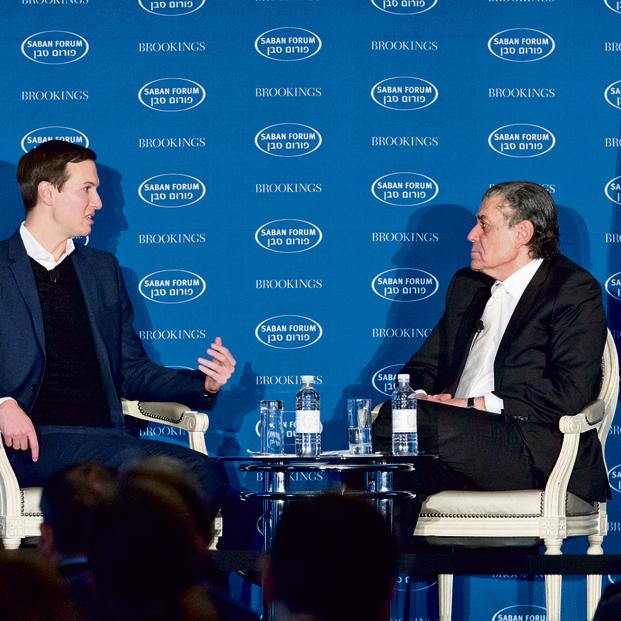 """סבן וקושנר. """"אני מניח שהוא הסביר לטראמפ איפה זה המזרח התיכון ומה התוכנית""""   צילום: אי פי"""