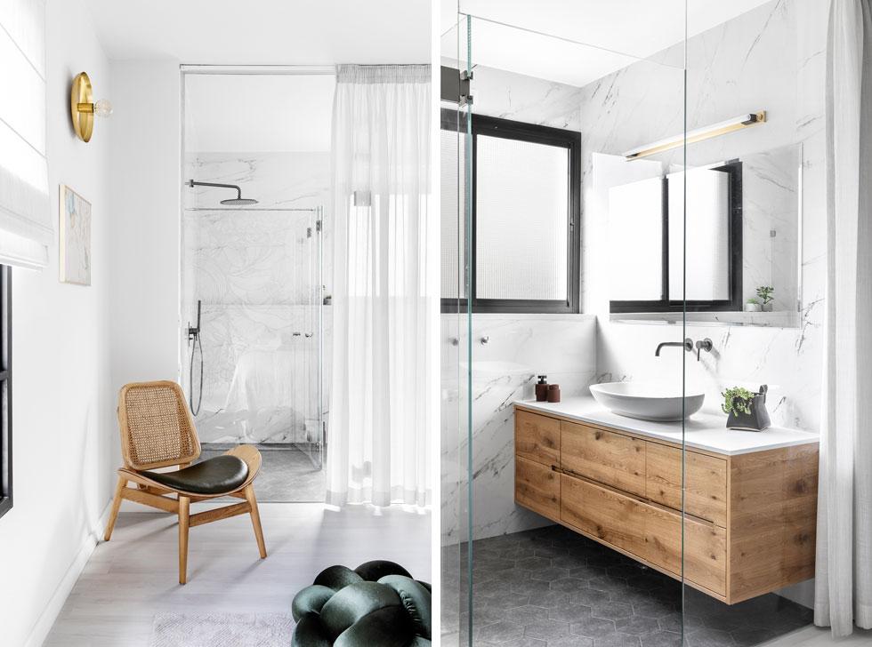 חדר רחצה שקוף ופתוח תוכנן בו, עם ארון כיור מעץ מלא, שמוסיף חמימות. ''היום אני מאוהבת בבית'' (צילום: איתי בנית)